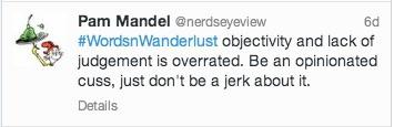 travel writing quote Pam Mandel Nerdseyeview