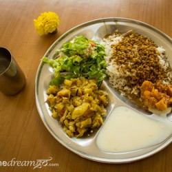 Aurovalley Ashram, yoga, India, travel, food, eating, green, sustainable, thali
