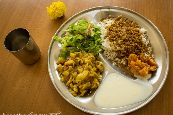 Aurovalley Ashram, yoga, India, travel, food, eating, green, sustainable, thali