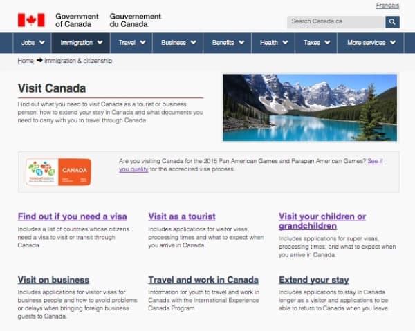 Visit Canada, Visa