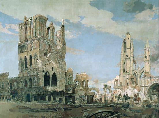 The Cloth Hall, Ypres, James Kerr-Lawson, war, painting, Canada, senate