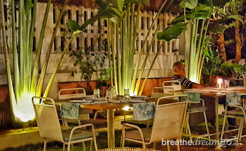 Outdoor cafe in Goa at night