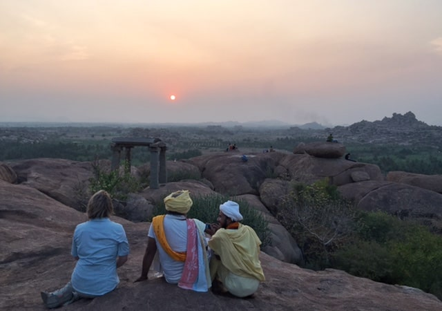 Hampi, sunset, India, travel, women, woman