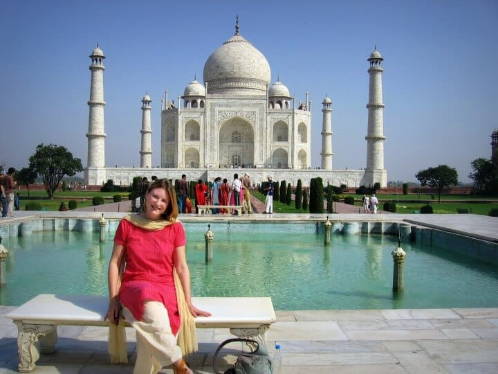 At the Taj Mahal for my India travel blog