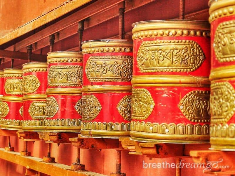 Prayer wheels in Ladakh, India