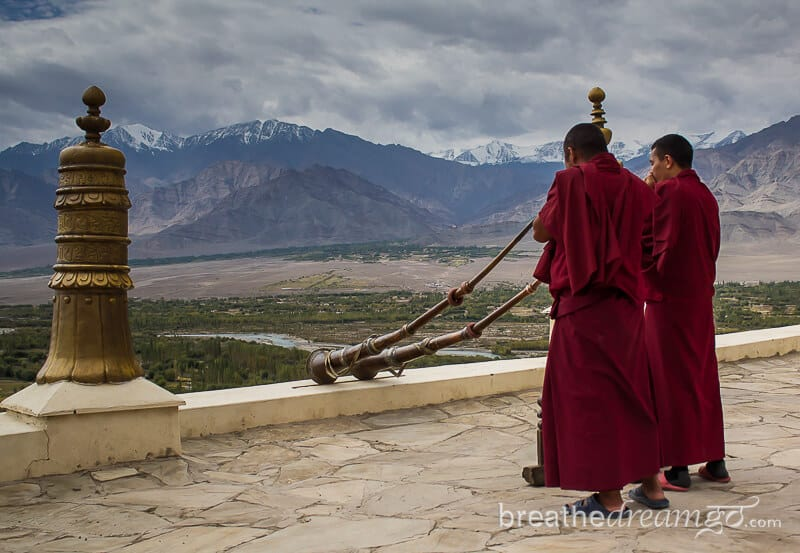 Buddhist monks playing Tibetan horn at Thiksey monastery, Ladakh, India