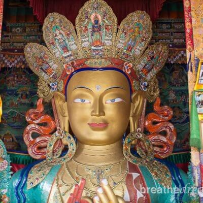 Golden Buddhist statue in Ladakh, India