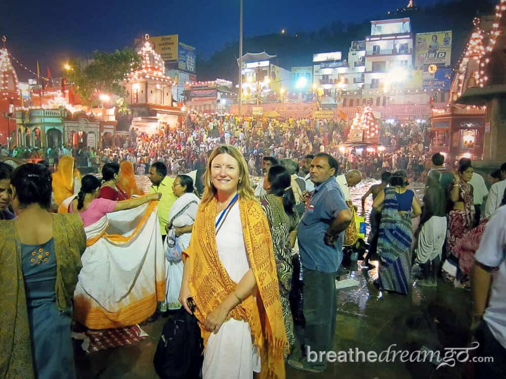 A real woman traveller: Mariellen Ward at Haridwar aarti during Kumbh Mela.