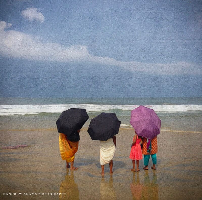 Beach umbrellas in Kerala India. Photo credit: Andrew Adams