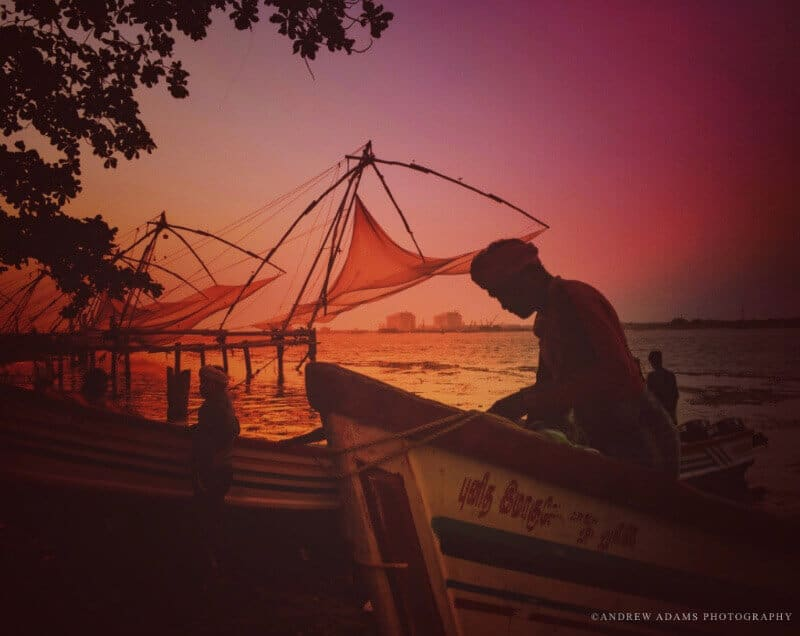 The ancient Chinese fishing nets of Kerala, India, through the lens of photographer Andrew Adams.