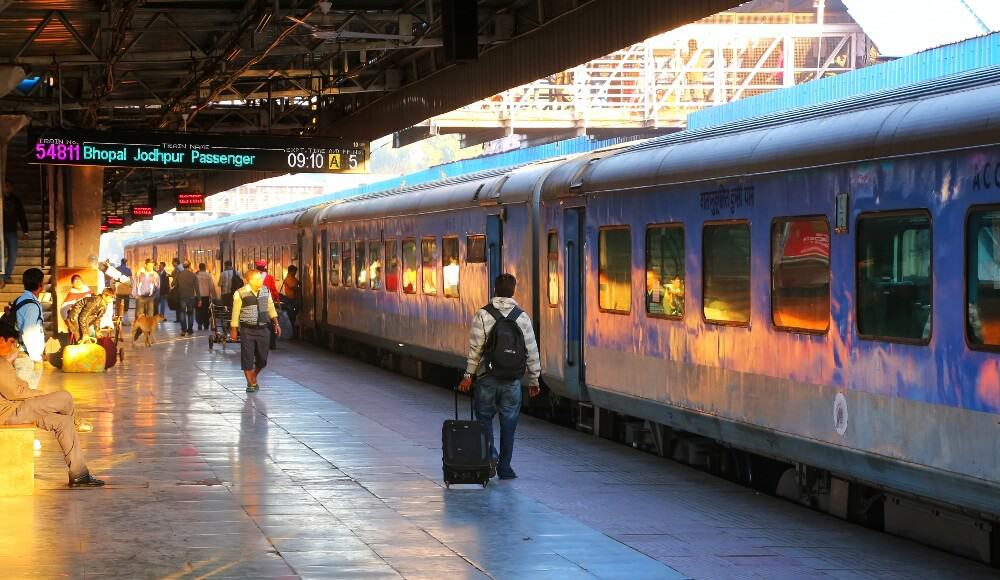 Indian train at Indian railway platform