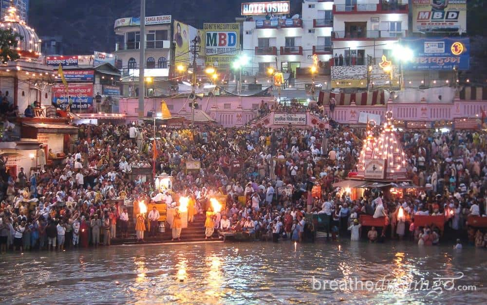 Aarti at the Ardh Kumbh Mela, Haridwar, India