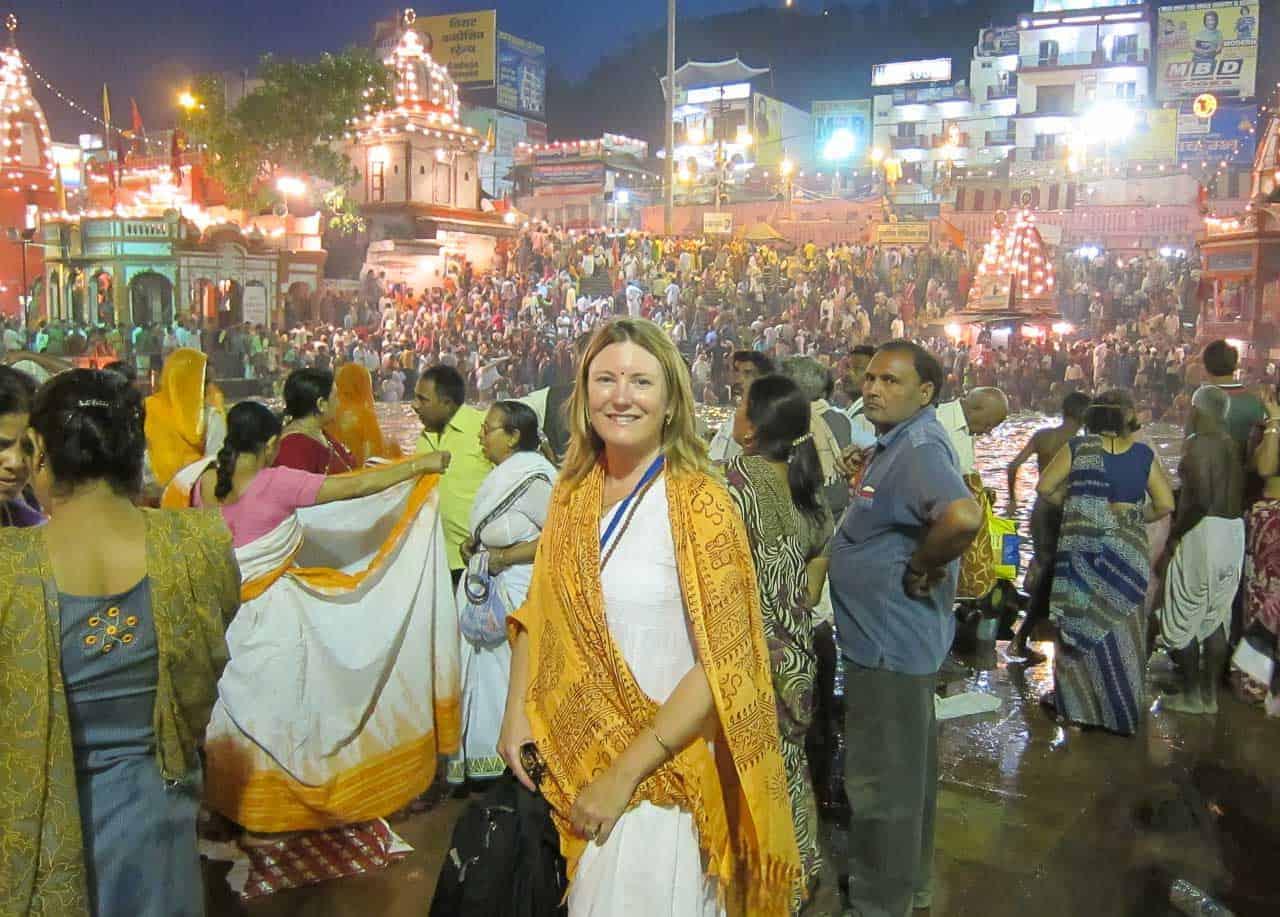 Mariellen Ward at the Kumbh Mela aarti in Haridwar
