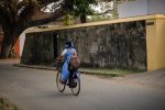 Girl on bicycle, Cochin / Fort Kochi, Kerala