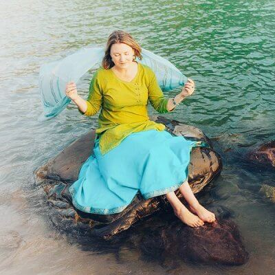 Mariellen Ward in the Ganga River, Rishikesh, India