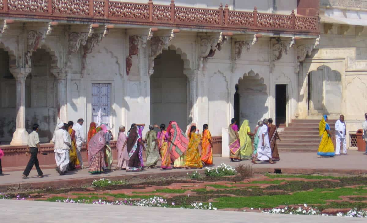 Women walking at the zenana at Agra Fort, which is on the India for Beginners tour
