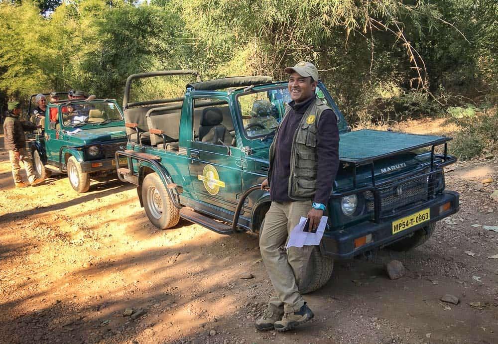 Naresh Gudda Singh with jeep at Tala Gate, Bandhavgarh National Park Tiger Reserve
