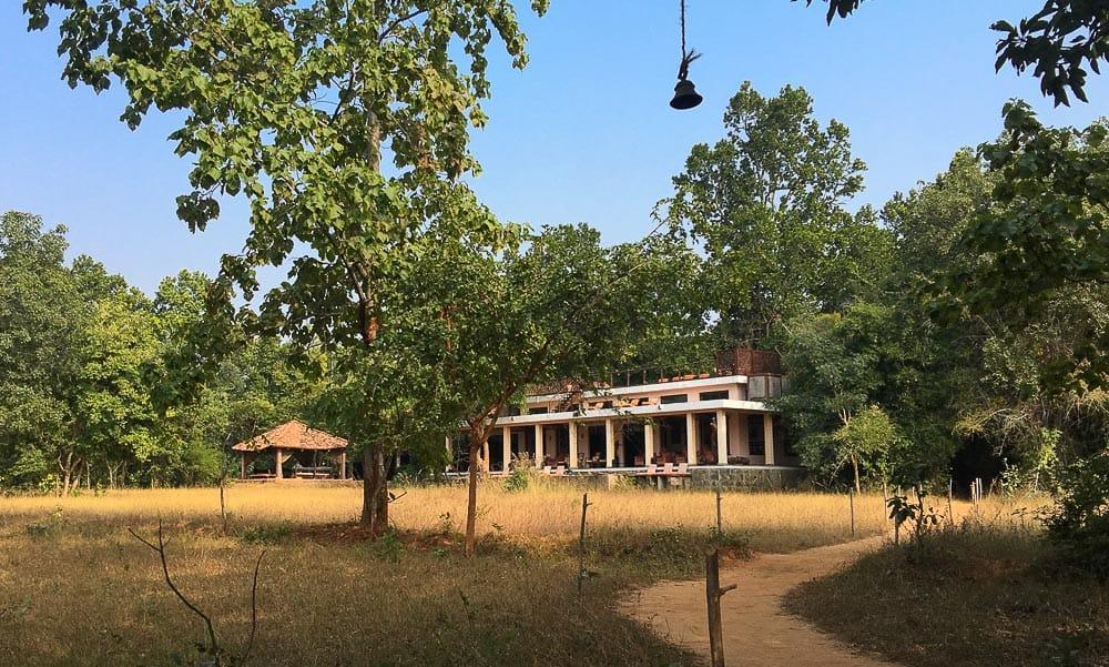 Lawn, trees and lodge building at Mahua Kothi, Bandhavgarh National Park Tiger Reserve