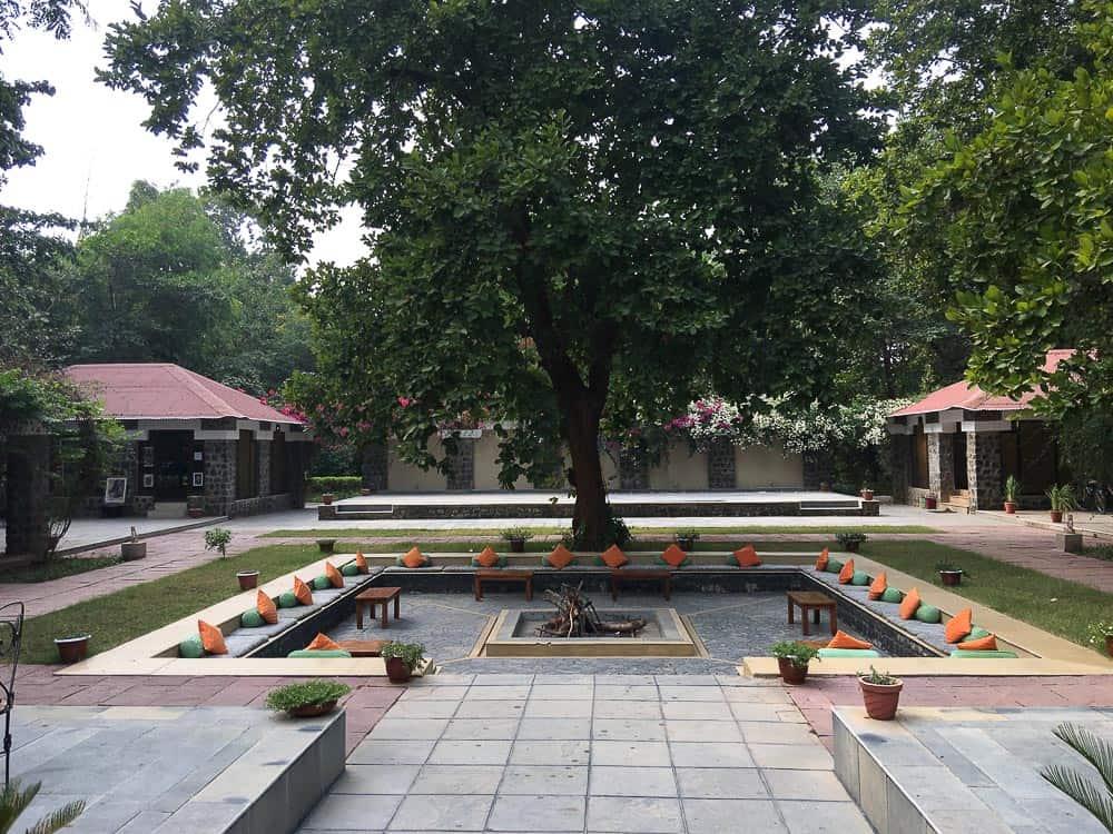 Courtyard with tree at Bandhav Vilas, Bandhavgarh National Park Tiger Reserve