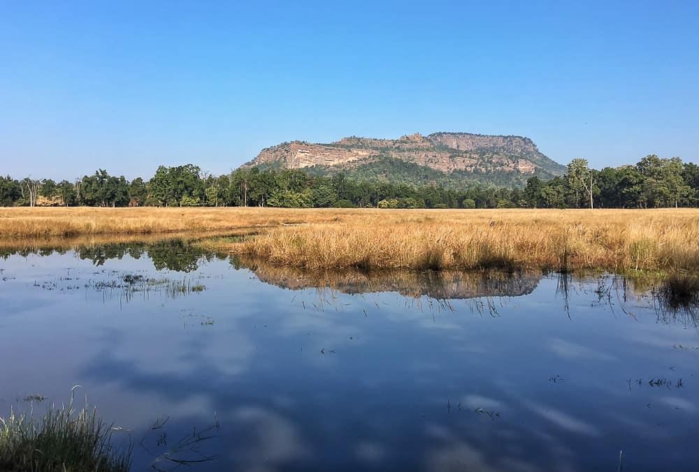 Bandhavgarh hill with pond, Bandhavgarh National Park Tiger Reserve