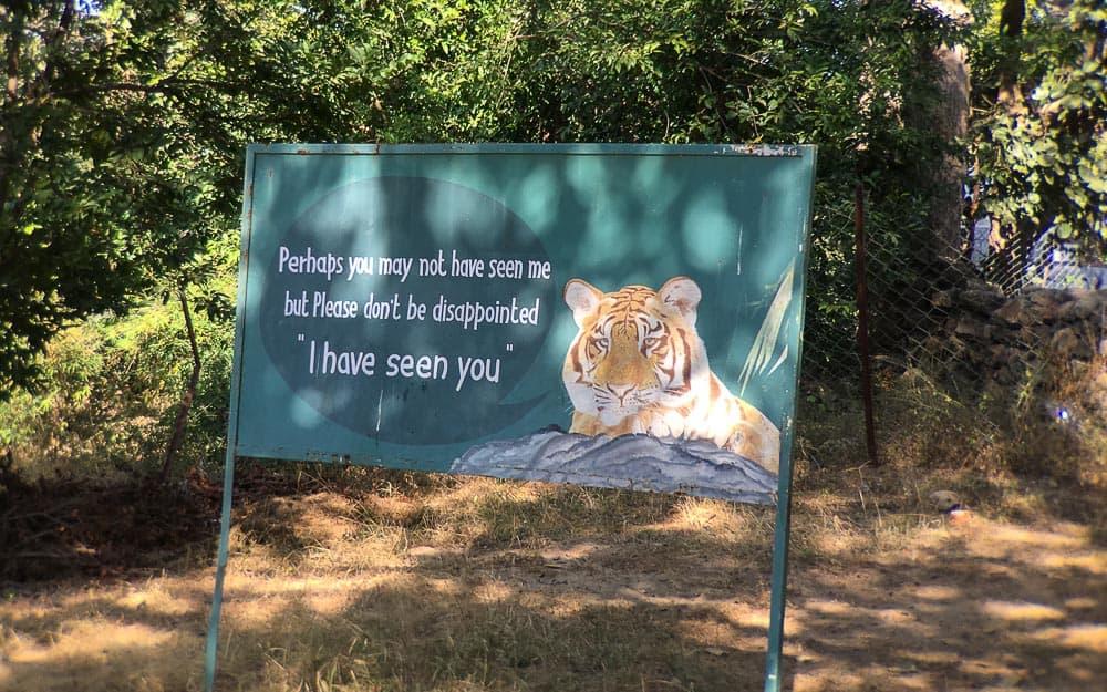 Sign at Bandhavgarh National Park Tiger Reserve