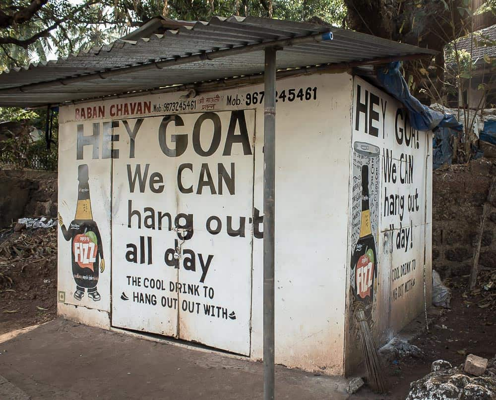 Goa hut with ad for Fizz