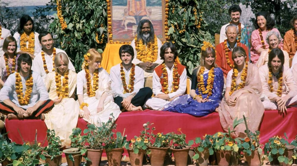 The Beatles with Maharishi Mahesh Yogi in Rishikesh India