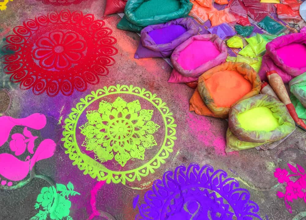 Colourful rangoli designs on Diwali