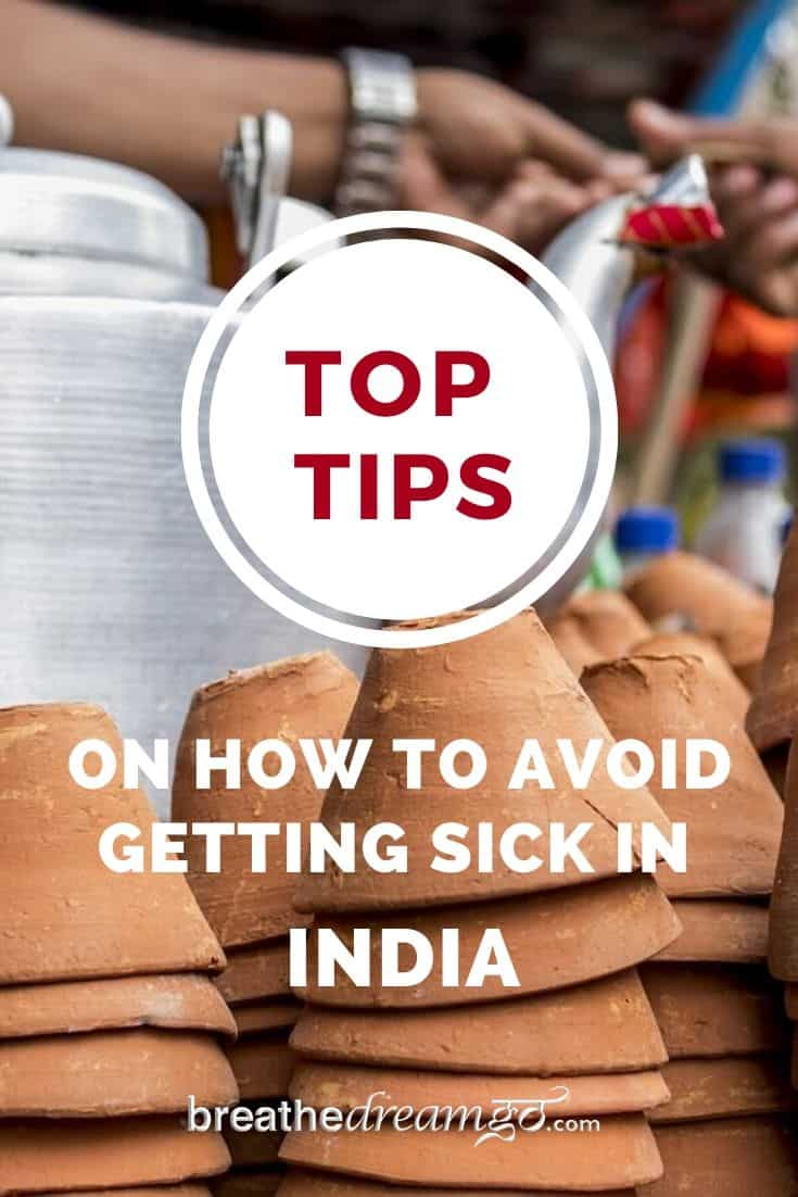 Pinterest Pin for tips to avoid getting sick in India