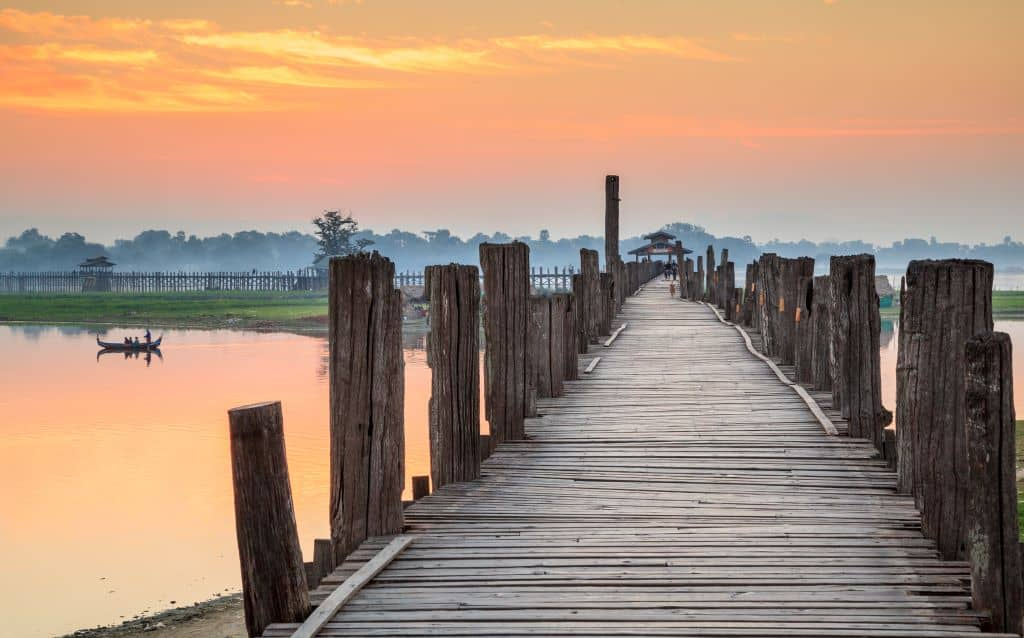 Myanmar travel photo: Bein's Bridge at sunset