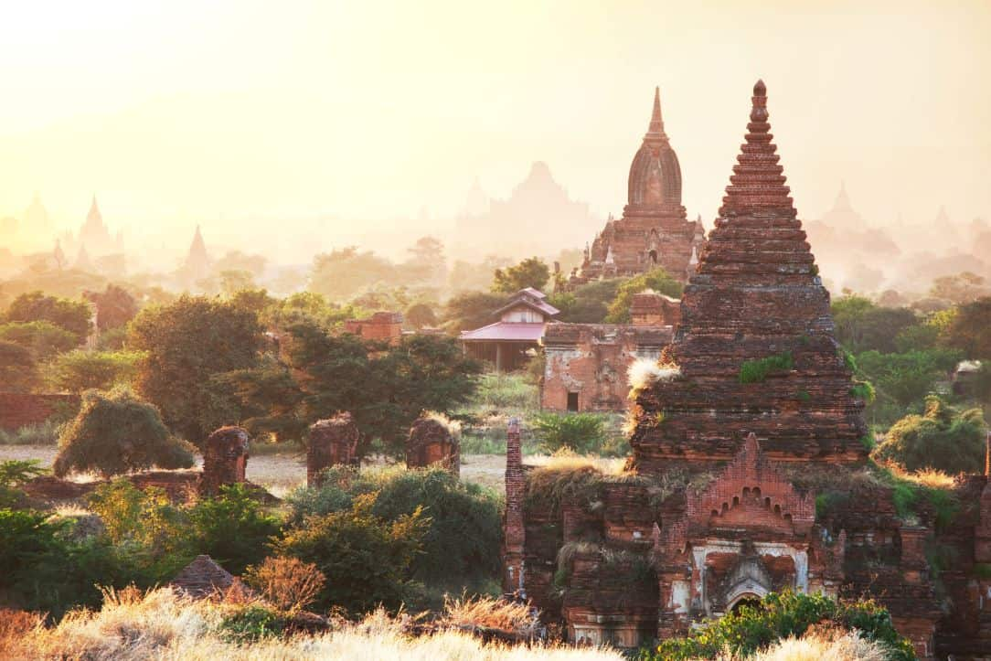 Myanmar travel photo: Bagan temples at sunrise