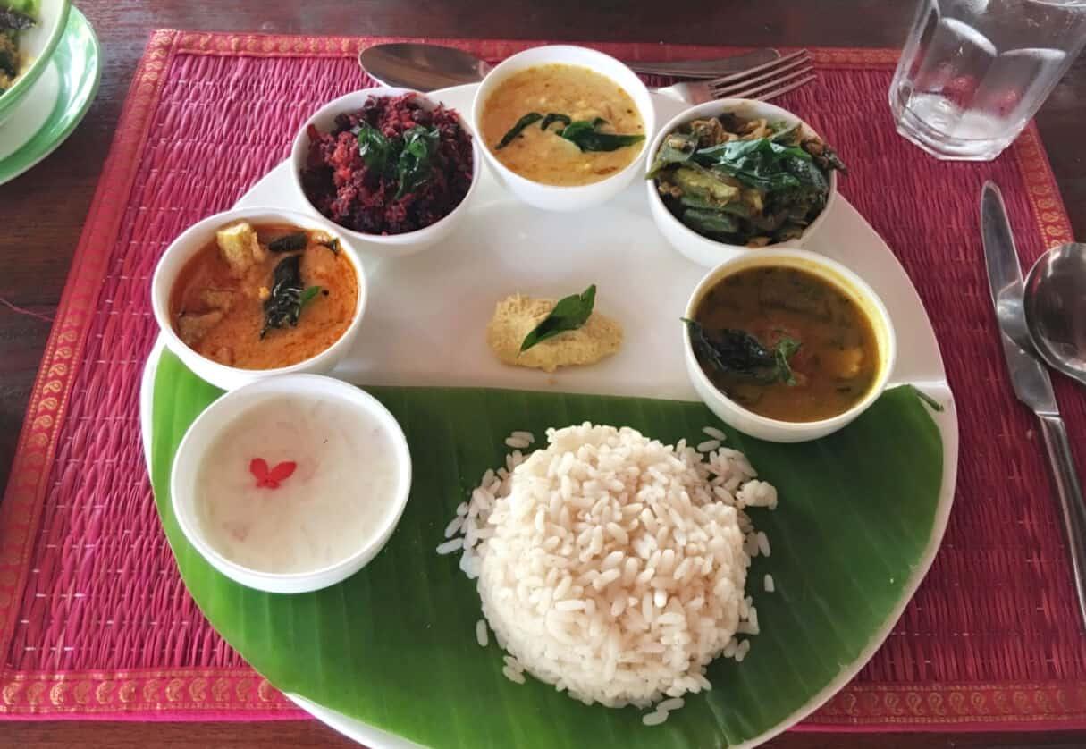 Kerala, South India, food thali