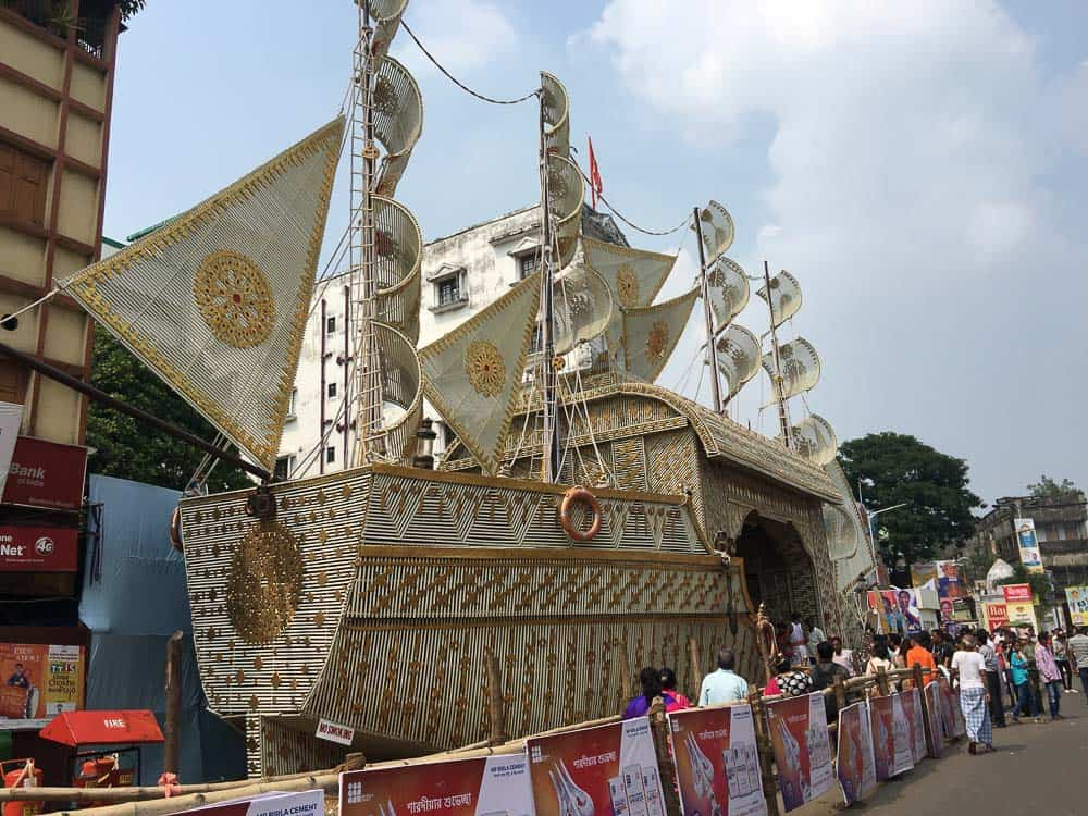 Giant ship puja at Durga Puja in Kolkata