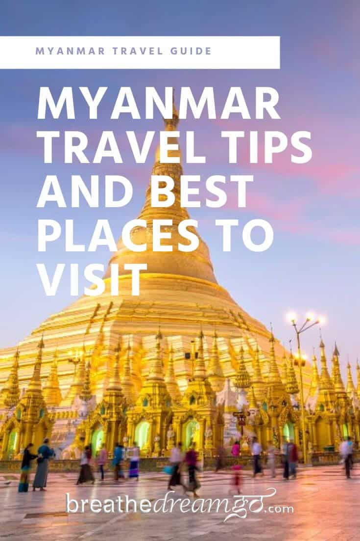 Myanmar Travel Guide Pinterest Pin with pagoda
