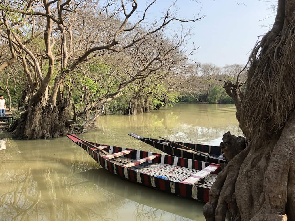 boats in a creek at Sylhet, Bangladesh
