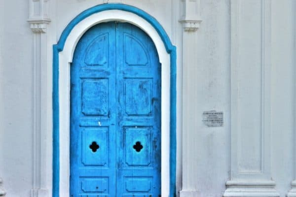 Blue door in Old Goa, India