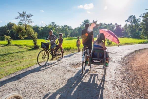 Cycle rickshaws in Mrauk U, Myanmar