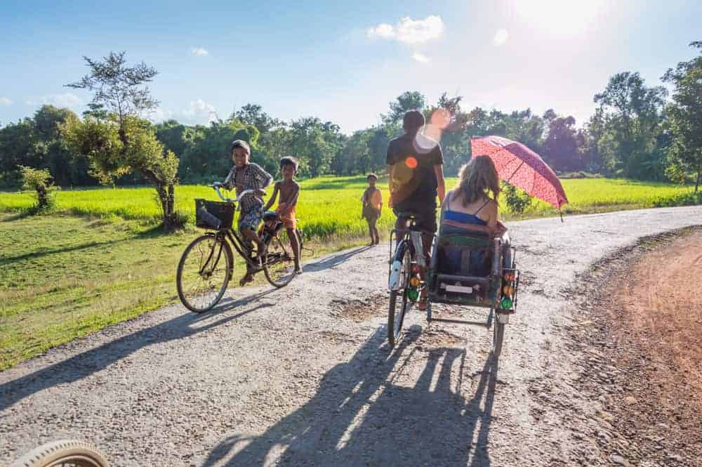 Cycle rickshaws in Mrauk U, Myanmar