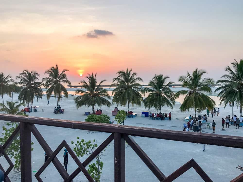 sunset on a rooftop cafe on Gaafaru ,Maldives