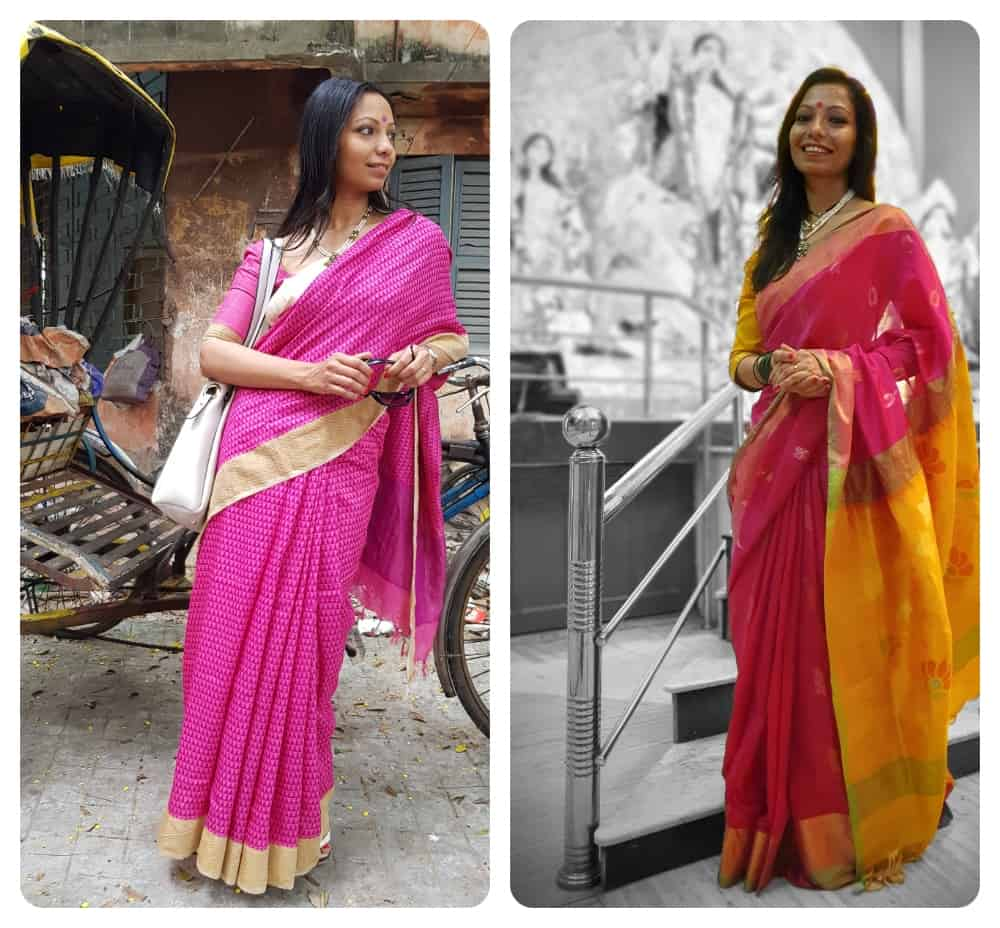women wearing sarees for Durga Puja in Kolkata