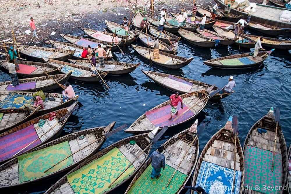 wooden boats at Sadarghat, Old Dhaka Bangladesh.
