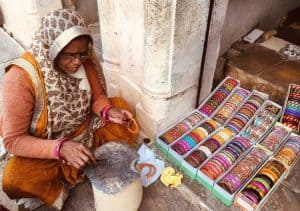 Woman making bangles in Rajasthan, India