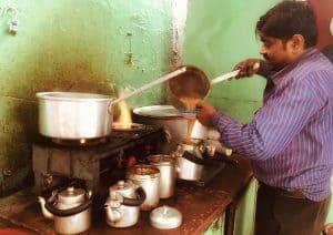 Chai walla in Old Delhi, India