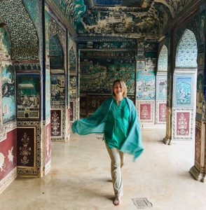 Mariellen in Bundi Palace on on Intrepid Travel Classic Rajasthan tour