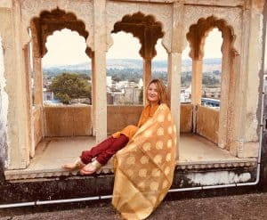 Mariellen Ward on roof of Castle Bijaipur, Rajasthan