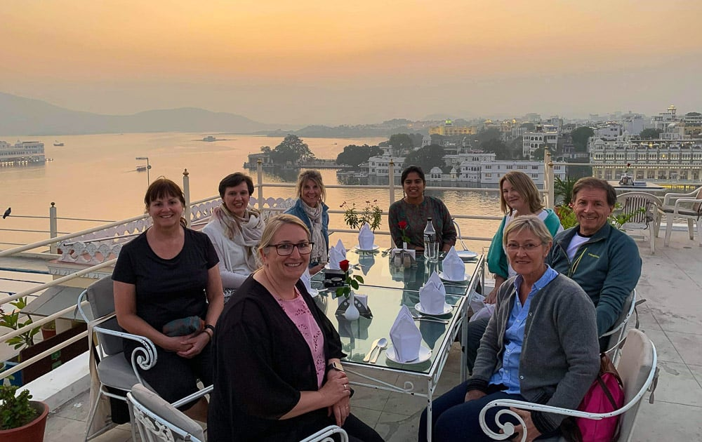 Intrepid Travel group on a rooftop in Udaipur