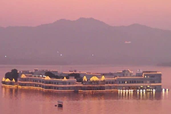 Udaipur and Lake Palace hotel at sunset