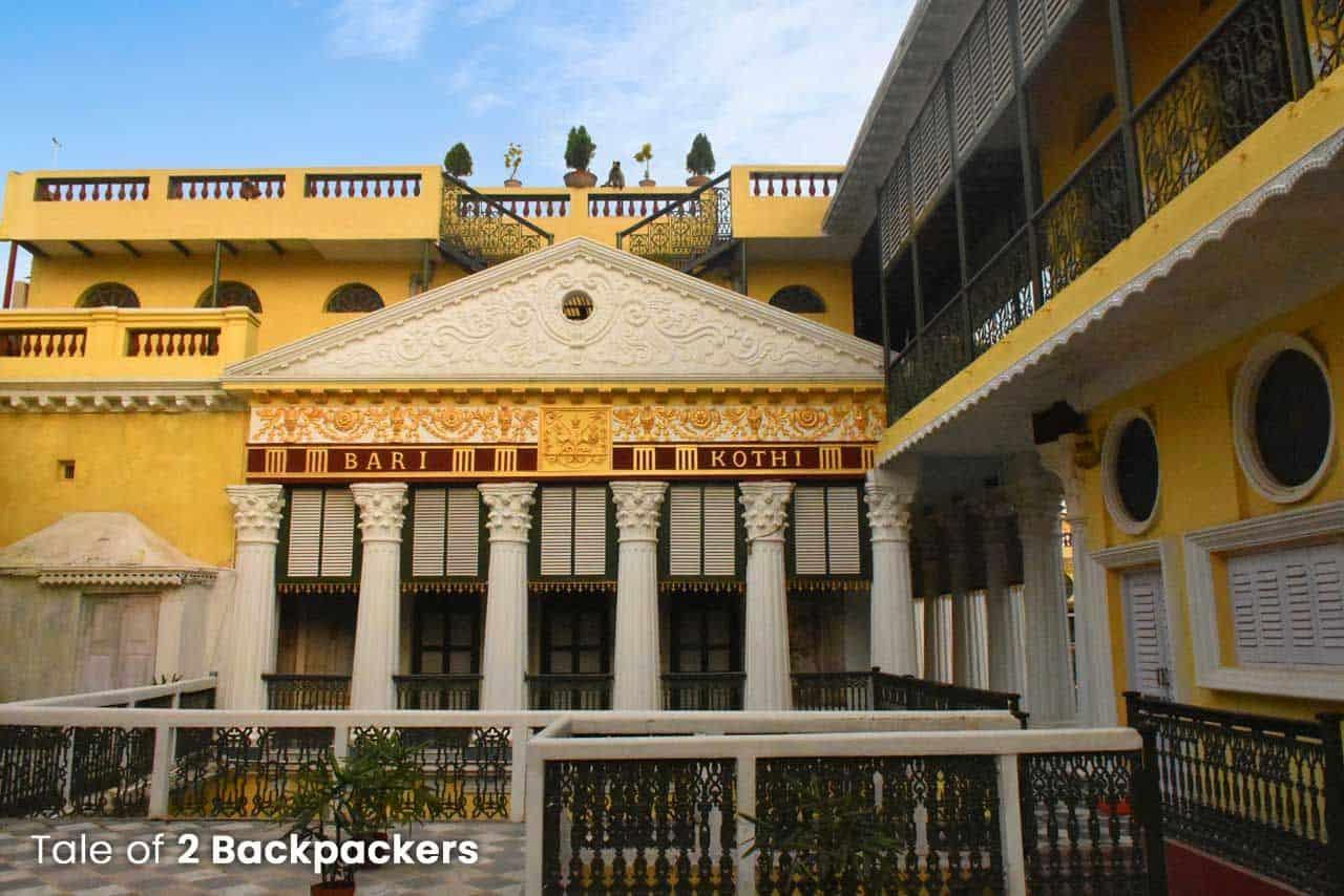 yellow mansion with pillars of Bari Kothi, Murshidabad, West Bengal, India