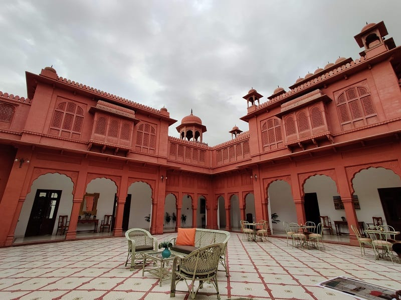 red fortress type hotel in Bikaner, India