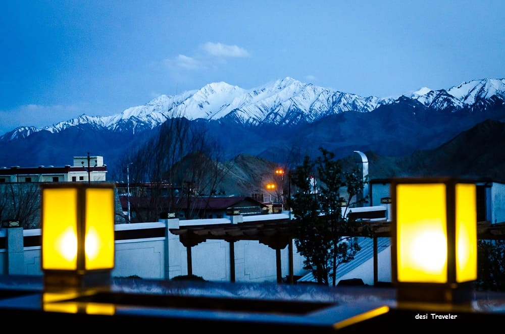 View of lanterns and mountains from Grand Dragon Hotel, Ladakh, India